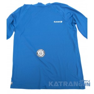 Лайкрова футболка для снорклінгу Olaian; короткий рукав; синя