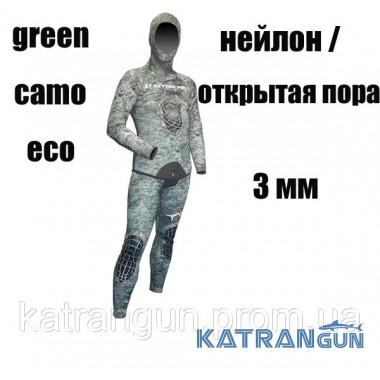 Гидрокостюм для тропиков XT Diving Pro Green Camo Eco 3 мм; нейлон / открытая пора