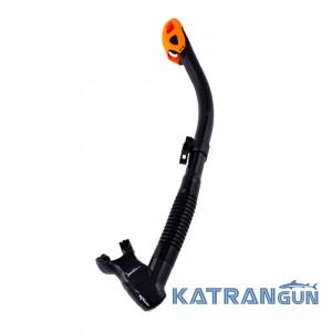 Трубка для подводной охоты Marlin Dry Lux; чёрно-оранжевая