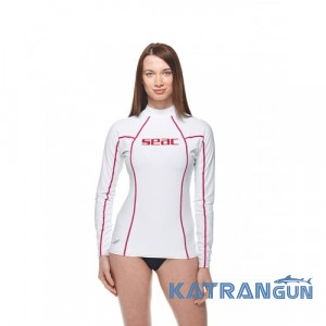 Женский рашгард для пляжа Seac Sub T-Sun; длинный рукав; белый