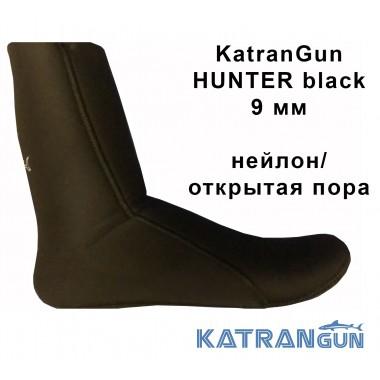 Шкарпетки для підводного полювання KatranGun Hunter Black 9 мм; нейлон / відкрита пора