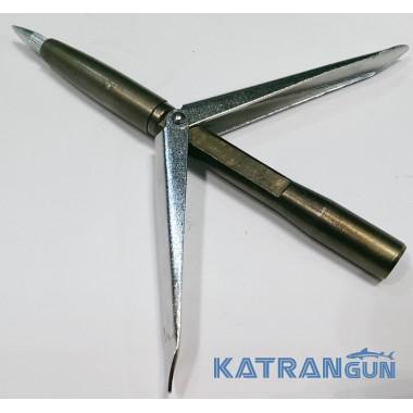 Накінечник для гарпуна KatranGun дюбель, змінна голова, два прапорці, 12 см