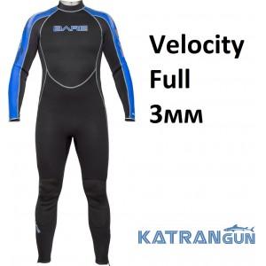 Гідрокостюм Velocity Full 3мм чорно-синій