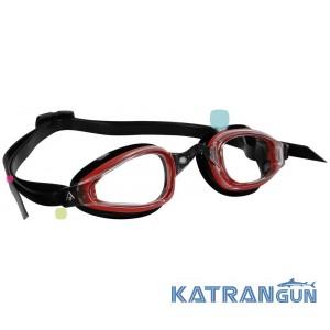 Стартовые очки Michael Phelps K180; красно-черные, линзы прозрачные