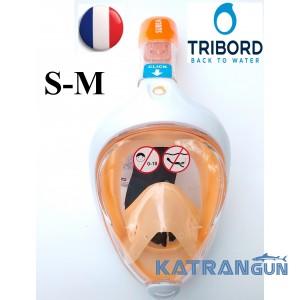 Полнолицевая маска для плавания Tribord Easybreath; коралловый цвет; размер S-M