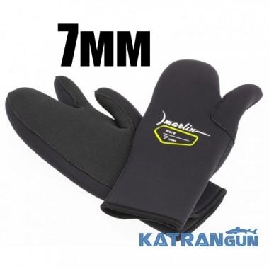 Трехпалые перчатки для подводной охоты Marlin Nord Black 7 мм