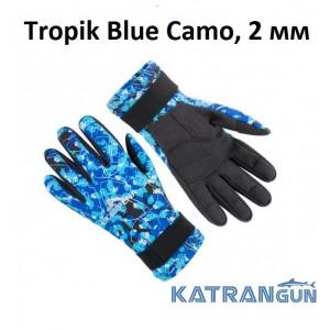 Перчатки для подводной охоты Scorpena Tropik Blue Camo, 2 мм