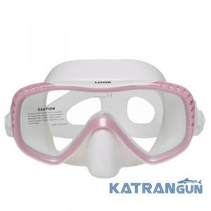 Маска для снорклинга Marlin Look; бело-розовая