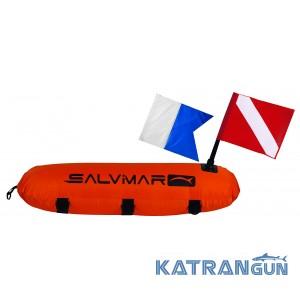 Буй Salvimar Torpedo в чехле с двумя флагами (CMAS & ALPHA)