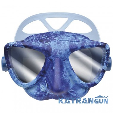 Маска для фридайвинга синий камуфляж C4 Plasma с зеркальными линзами