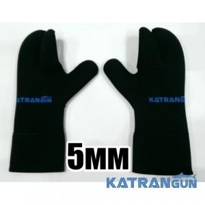 Перчатки для подводной охоты KatranGun Hunter 5 мм; нейлон/открытая пора; защита на ладони дюратекс