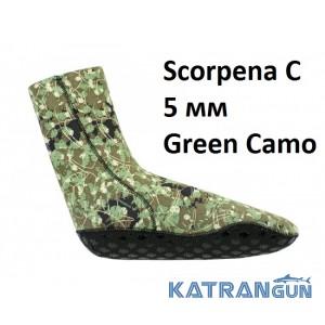 Носки для подводной охоты Scorpena C Green Camo 5 мм