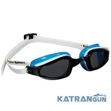 Очки для плавания женские Michael Phelps K180 Lady; бело-голубые, линзы темные