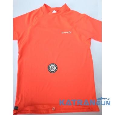 Лайкровая футболка для плавания Olaian; короткий рукав; коралловая