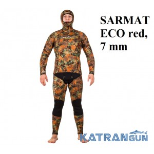 Гідрокостюм червоний камуфляж Marlin SARMAT ECO red, 7 мм
