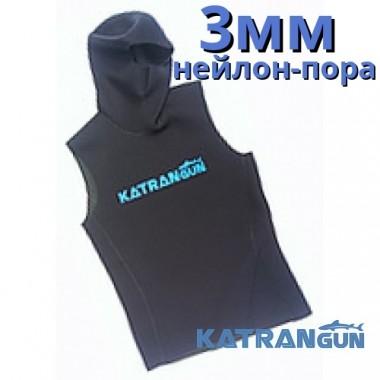 Майка для подводной охоты KatranGun 3 мм, со шлемом, нейлон/открытая пора