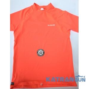 Лайкрова футболка для плавання Olaian; короткий рукав; коралова