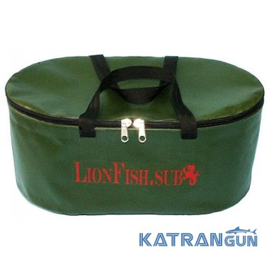 Складное ведро для прикормки овальное KatranGun (от LionFish) 32 л, с крышкой на молнии, 2 ручки
