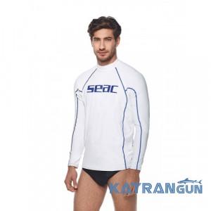 Чоловіча футболка для плавання з УФ захистом Seac Sub T-Sun; довгий рукав; біла
