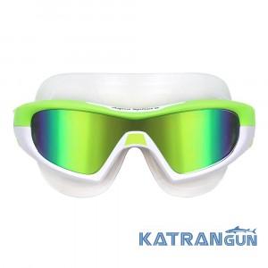 Зеркальные очки маска AQUA SPHERE VISTA PRO, салатово-белые, линзы зеркально-зеленые