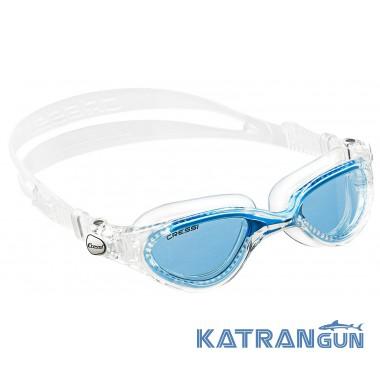 Окуляри для плавання Cressi Sub Flash; дзеркальні скла; блакитні