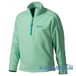 Легкая флисовая кофта Marmot Girl's Rocklin 1/2 Zip, Green Frost