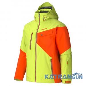 Утепленные горнолыжные куртки Marmot Men's Tower Three Jacket, Green Lime/Sunset Orange