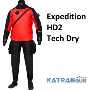 Сухий гідрокостюм Bare Expedition HD2 Tech Dry чорно-червоний