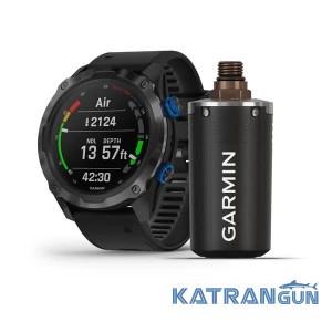 Годинник для дайвінгу Descent Mk2i Carbon Grey титановий DLC з передавачем Descent T1; з силіконовим ремінцем