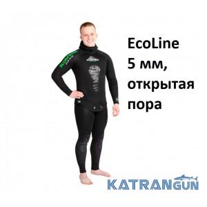 Гидрокостюм для подводной охоты в теплой воде Scorpena EcoLine 5 мм, открытая пора
