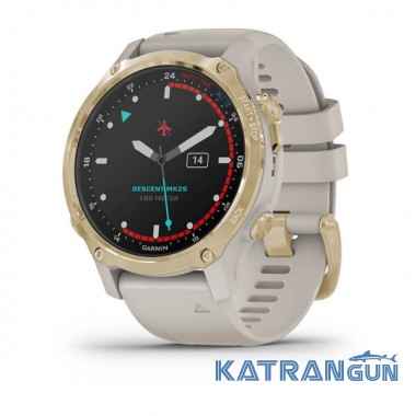 Часы для дайвинга Garmin Descent Mk2S; цвет Light Gold с силиконовым ремешком Light Sand
