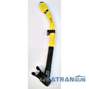 Трубка для плавання з двома клапанами BS Diver Aaron Dry 2 жовта