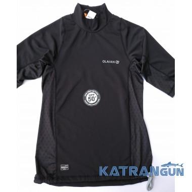 Лайкрова футболка для плавання Olaian; короткий рукав; чорна