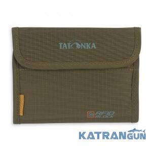 Компактный вместительный кошелек Tatonka Euro Wallet RFID B Olive