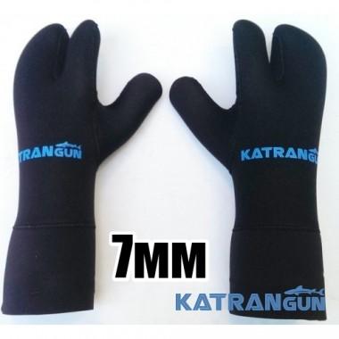 Рукавицы для подводной охоты KatranGun Hunter 7 мм, нейлон/открытая пора, защита ладони - нейлон