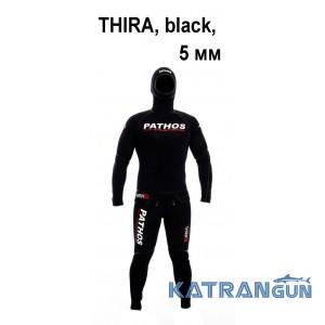 Гидрокостюм плотный черный неопрен Pathos THIRA, black, 5 мм