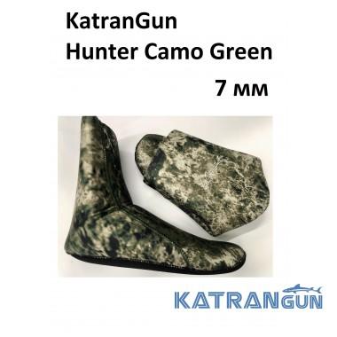 Носки для подводной охоты камуфляжные KatranGun Hunter Camo Green 7 мм; нейлон/открытая пора