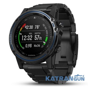 Смарт-годинник Garmin Descent MK1; темно-сірий, з титановим DLC ремінцем