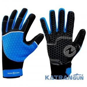 Мужские перчатки для снорклинга AquaLung Velocity; сине-чёрные