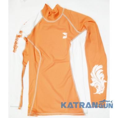 Лайкровая футболка для плавания IST, длинный рукав, коралловая