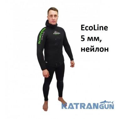Гидрокостюм для подводной охоты в теплой воде Scorpena EcoLine 5 мм, нейлон