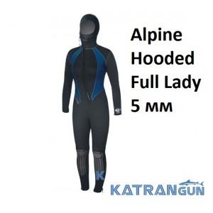 Женский гидрокостюм для дайвинга Bare Alpine Hooded Full Lady 5 мм