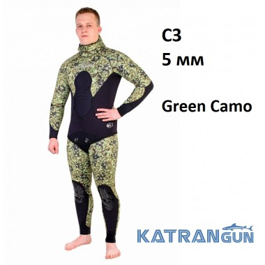 Гидрокостюм для подводной охоты Scorpena C3 5 мм; Green Camo