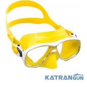 Маска для підводного плавання Cressi Sub Marea, біла рамка, жовтий силікон