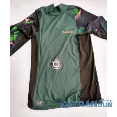 Лайкровая футболка для плавания Olaian; короткий рукав; тёмно-зелёная