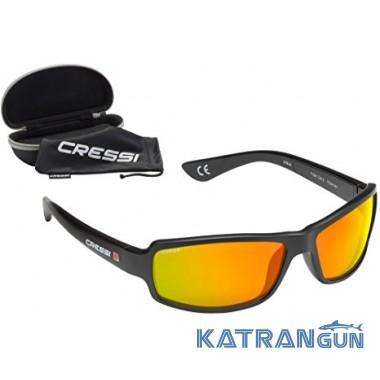 Солнцезащитные очки Cressi Sub Ninja Floating, зеркальные стёкла оранжевые