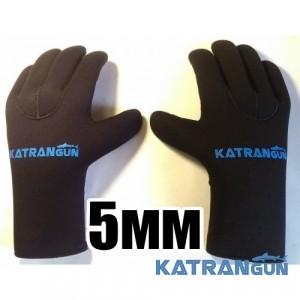 Перчатки подводной охоты KatranGun Hunter 5 мм, нейлон/открытая пора, защита ладони - напыление