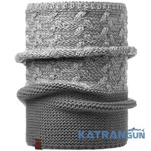 Гарний двоколірний шарф-Баффі Buff Knitted Collar Kiam grey