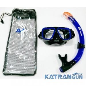 Набір маска і трубка IST (маска Saturn + трубка SN-103), чорно-синій