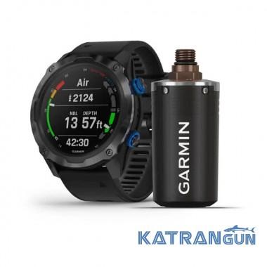 Часы для дайвинга Descent Mk2i Carbon Grey титановый DLC с передатчиком Descent T1; с силиконовым ремешком